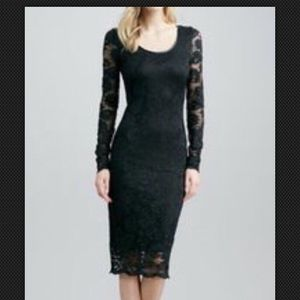 Robert Rodriguez stretch lace dress / leather trim